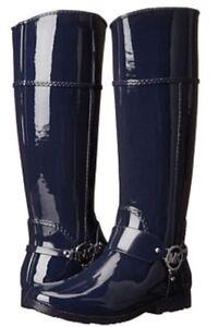Michael Kors Navy Blue Rubber Fulton Harness Rain Boots Women's Size 8-M NO BOX