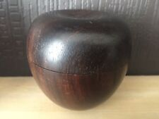 Vintage Handcarved Wooden Apple Shaped 2 part lidded Wood Jewellery Trinket Box