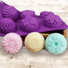 6 Cavity Flower Shaped Handmade Silicone Cake Mold DIY Soap Candle Supplies Tool