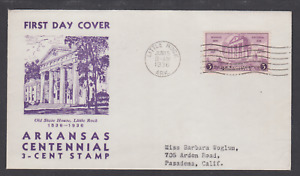 US Planty 782-43 FDC. 1936 3c Arkansas Centennial, Sudduth cachet, VF.