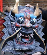 Wood Carved Hand-painted exorcise evil Dragon facial makeup Mask Wall Hanging