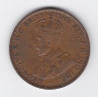 CB1435) Australia 1925 Penny. About EF, 8 pearls & centre diamond visible.