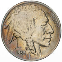 1937-P BUFFALO NICKEL COLOR DEEP TONED UNC WONDERFUL GEM BRIGHT LUSTER (DR)