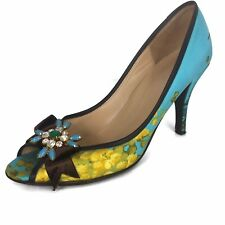 J Crew Pumps Womens 10 Turquoise Floral Print Isabella Peep Toe Brooch Italy