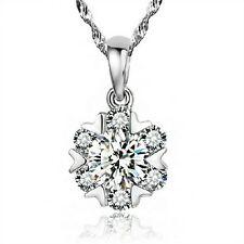 925 Silver Snowflake Zircon Small Pendant Necklace Women's Jewelry