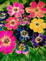 """Limited edition Print Signed and numbered - Wild Pansies 2020 22"""" x 18"""" Flowers"""