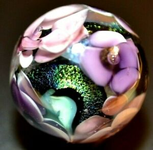 """PAULA DONNA GLASS MARBLE/1.278""""-AFRICAN VIOLETS-TURQUOISE& LIME DICHROIC PATCHES"""