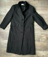 VTG Forecaster of Boston 100% Wool Coat Womens Full Length Lined Size 12 Black