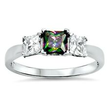 .925 Sterling Silver Ring size 5 CZ Engagement Wedding Mystic Topaz New pv47