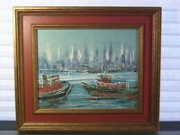 Vintage Abstract Cityscape Nautical Painting Mid Century Modern Art
