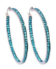 BRIGHT NEON BLUE MADE WITH SWAROVSKI CRYSTAL INSIDE & OUT HOOP EARRINGS - 2""