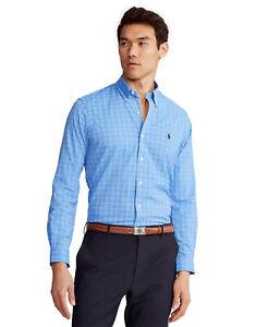 RALPH LAUREN Men's Classic Fit Performance Shirt Blue Size Medium $98 - NWT