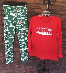 Christmas Pajamas Sz XL Adult Man Woman Red Green Sleigh Santa Sleepwear Extra L