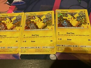 HOLO BLEED! Pikachu Holo 25th Anniversary McDonalds Promo Pokemon Near Mint (NM)
