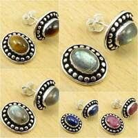 Choice Of Color ! 925 Silver Plated LABRADORITE & Other Gemstone Stud Earrings