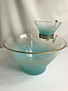Mid-Century W. Virginia Blendo Frosted Turquoise/Gold Glass Chip & Dip Bowl Set