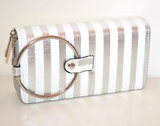 Portefeuille argent blanc femme faux cuir portemonnaie clutch bag zip G30