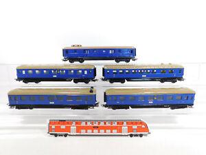 CR467-2# 5x Märklin H0/00/AC Schürzenwagen blau lackiert 346/? Gepäckwagen etc