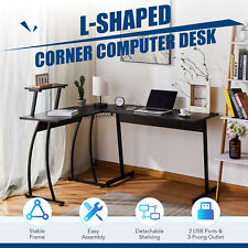 L Shaped Gaming Desk W Charging Station And Monitor Stand 39x19 44x19 Black