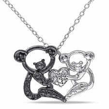Amour Sterling Silver Black Diamond Koala Bear Necklace