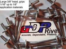"Pop Rivets aluminum w/steel nail#42 1/8Dx1/8""grip, Big 3/8"" head BUY 100 US made"