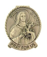 Pewter Saint St Therese Pray for Us Medal Visor Clip, 2 Inch