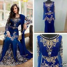 2017 Arabic Dubai Moroccan Kaftan Dresses Luxury Long Sleeve Muslim Evening Gown