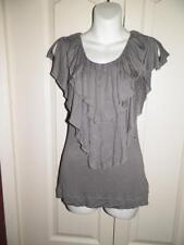 ANTHROPOLOGIE LANGUAGE Gray RUFFLE TRIM SLIT SLEEVE Shirt XS X Small