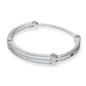 Sterling Silver Bracelet Three 3 Row Round Cubic Zirconia Stones Bangle J JAZ