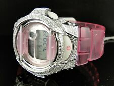New G-Shock Pink Baby G Women's White Simulated Diamond Watch