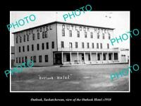 OLD LARGE HISTORIC PHOTO OF OUTLOOK SASKATCHEWAN, VIEW OF THE OUTLOOK HOTEL 1910