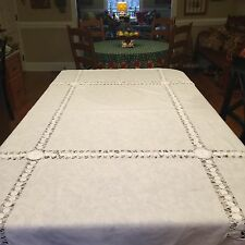 """VTG White on White Embroidery & Cutwork Tablecloth Cotton 50"""" X 62"""""""