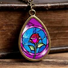 BEAUTY & THE BEAST ROSE PENDANT NECKLACE Jewellery Gift Idea Womens Girls Kids