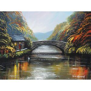 Pete Rumney Original Canvas Art Autumn Walk By the River Hand Painted Vibrant