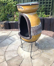 Clay Firepit with BBQ Clay Fire Pit & Barbeque Fire Bowl Garden Heater Chimenea
