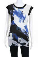 Karen Millen Women's Short Sleeve Zip Up Blouse White Blue Black Size 4