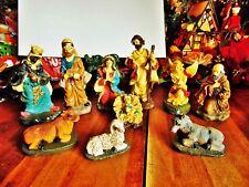 10 Pc Used Christmas Nativity Joseph Mary Jesus 3 Kings Angel Cow Donkey Lamb