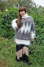 **Mohair** Sweater Turtleneck thick Hand knitted goat fuzz Angora Unisex Size: M