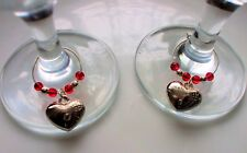 Red Heart Wine Glass Charms x 2  + Gift Bag Engagement Proposal Romantic Meal