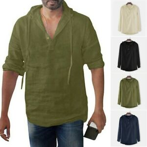 Men Long Sleeve Hooded T-shirt Linen Cotton Hoodie V Neck Casual Pullover Blouse