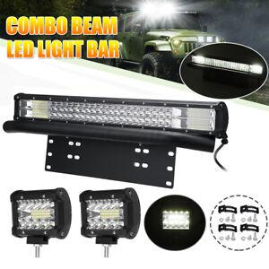 """23"""" LED Light Bar & Plate Holder Bull Bar + 2x 4'' Spot Flood Combo Beam Wiring"""