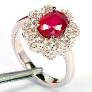 NATURAL 6 X 8 mm. OVAL CUT RED RUBY & WHITE CZ RING 925 STERLING SILVER