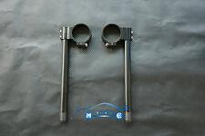 CNC 55MM demi guidon taillé masse réglable universel Noir MOTO Clip On Handle