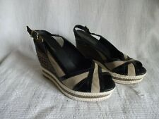 TOMMY HILFIGER Ladies Black/Taupe Wedge Peep Toe Slingback Sandal UK5