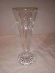 WATERFORD CRYSTAL LISMORE CUT CRYSTAL TRUMPET FOOTED FLOWER VASE, FLARED, 6 ½ IN