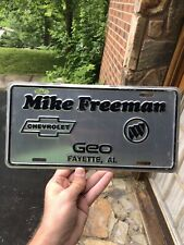 Vintage Mike Freeman Chevrolet Buick Dealership Fayette Alabama AL LICENSE PLATE