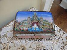Antique French Eglomise1900 Paris Exhibition Souvenir Jewlery Casket Trinket Box