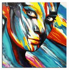 Modern. Art -Gesicht- 100x100cm-Ölbild handgemalt Leinwand Signiert G96063