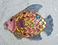 Vintage Carved Painted Pink Lucite Angel Fish Brooch Pin Rhinestone BOOK PIECE