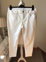 "BNWT F&F White Ankle Grazer Jeans Size UK 16 Short Length 25"" Summer Slim Fit"
